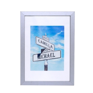 Anniversary Gift Personalized Street Sign Photo Print with Frame