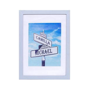 Personalized Street Sign Photo Print Frame for Anniversary Gift