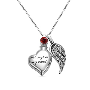 Personalized Heart Photo Urn Necklace in Silver