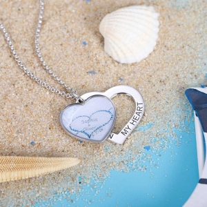 Personalized Beach & Forest Heart Stacking Necklace in Silver