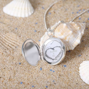 Personalized Beach and Forest Round Locket Necklace in Silver