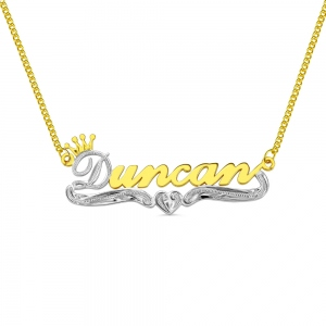 Personalized Crown Name Necklace in Gold