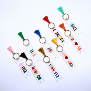 Custom Colorful Acrylic Name Keychain With Tassels