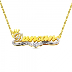 Personalized Double Plate Name Necklace in Gold