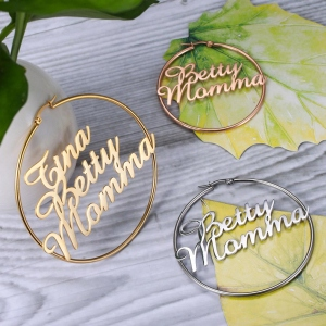 Personalized Name Hoops Earring