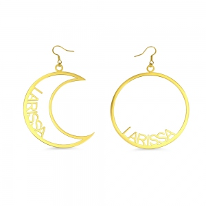 Personalized Moon & Sun Mismatched Name Earrings