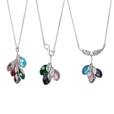 Personalized Family Birthstone Necklace with Initial Leaves in Silver