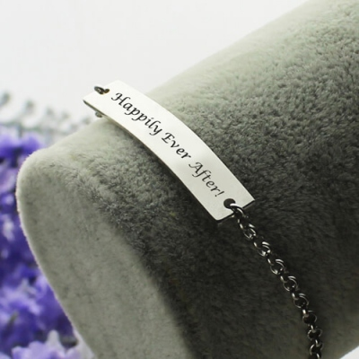 Sterling Silver Fabulous Personalized Bar Bracelet For Mom