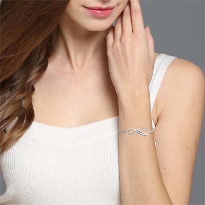 Graceful Custom 2 Names & Birthstones Mother's Bracelet Cut Out
