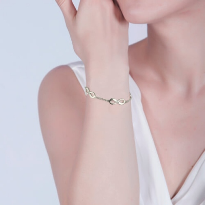 Sterling Silver Twinkling Personalized Triple Infinity Mother's Name Bracelet