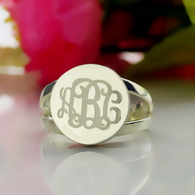 Sterling Silver Impressive Circle Monogram Signet Ring