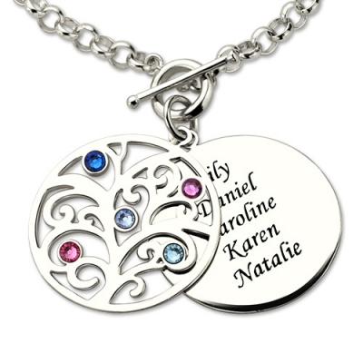 Sterling Silver Personalized Birthstone Nana Family Tree Bracelet