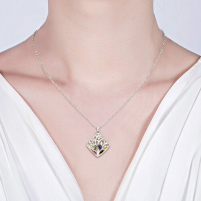 Brilliant Platinum Plated Rhombus Cage Family Tree Birthstone Necklace