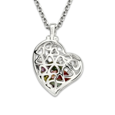 Platinum Plated Romantic Heart Cage Family Tree With Birthstones Necklace
