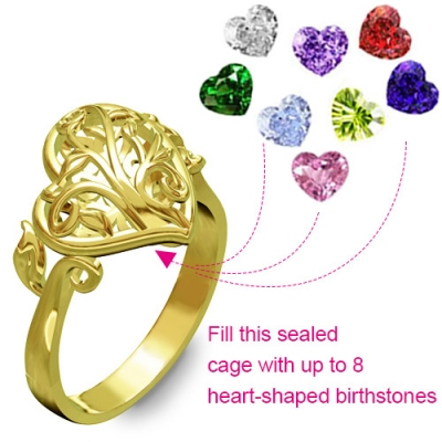 Chic Gold Plated Family Tree Heart Cage With Heart Birthstones Ring