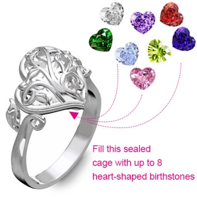 Dazzling Platinum Family Tree With Heart Birthstones Heart Cage Ring