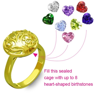 Superb Heart Birthstones Round Cage Family Tree Gold Plated Ring
