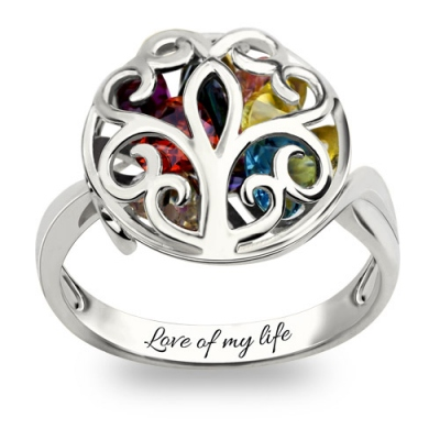 Platinum Plated Heart Birthstones Breathtaking Round Cage Family Tree Ring