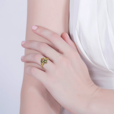 Engraved Elegant Heart Birthstones Family Tree Cage Gold Plated Ring
