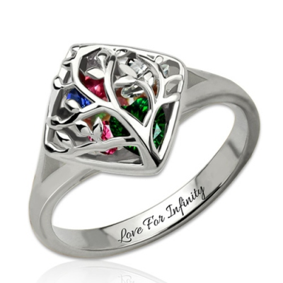 Stylish Platinum Plated Family Tree Cage With Heart Birthstones Ring