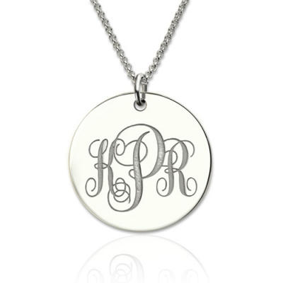 Sterling Silver Enigmatical Engravable Initials Disc Monogram Necklace