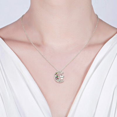 Charming Platinum Plated To The Moon And Back Cage MOM(MUM) Necklace
