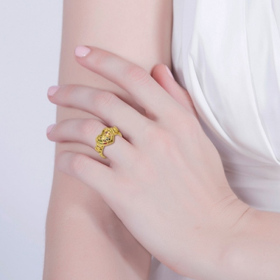 """Meaningful Gold Plated """"MOM"""" Heart Cage With Birthstones Ring"""