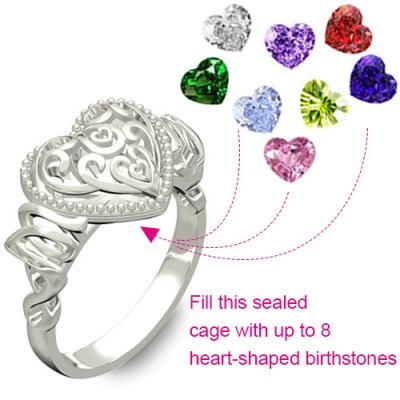 "Attractive Platinum Plated ""MOM"" Heart Cage With Birthstones Ring"