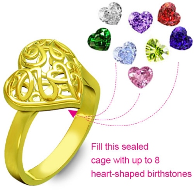 Gold Plated Graceful Birthstones Mother's Heart Cage Ring