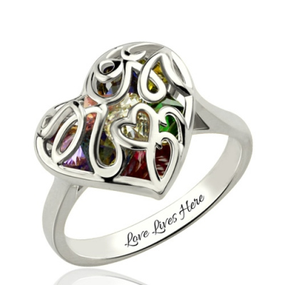 Special Platinum Birthstones Plated Mother's Heart Cage Ring