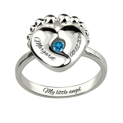 Graceful For New Mom With Engraved Baby Name & Birth Date Birthstone Ring