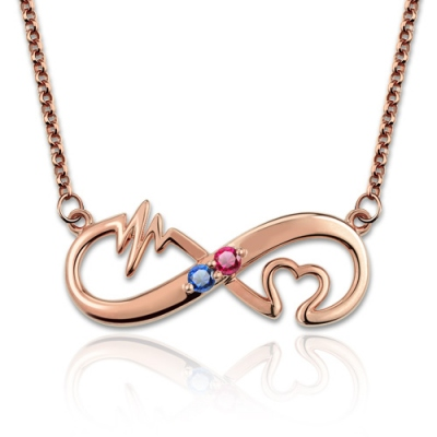 Lovely Rose Gold Heartbeat Birthstone Infinity Love Necklace