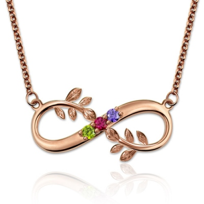 Fantastic Birthstones Tree Branch Infinity Rose Gold Necklace