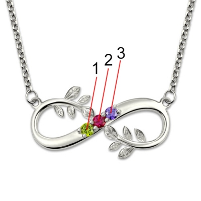 Platinum Plated Refined Tree-Branch Infinity With Birthstones Necklace
