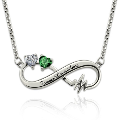 Exquisite Birthstonese Heartbeat Infinity Platinum Plated Necklace