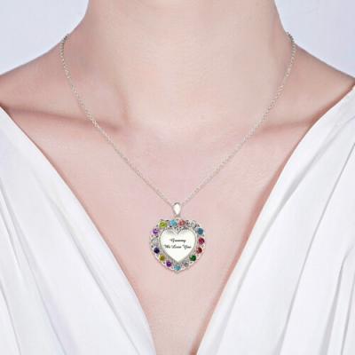 Platinum Plated Flowery Grandma Heart Birthstones Necklace