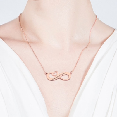 Rose Gold Charismatic Infinity Heart Engraved Names Necklace