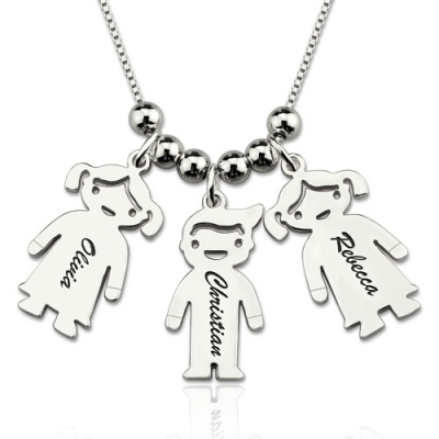 Sterling Silver Chic Engraved Kids Charms Necklace