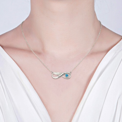 Platinum Plated Ponderable Birthstone Infinity Angel Wing Necklace