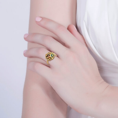 Gold Plated Extraordinary Round Cage Family Tree Birthstone Ring