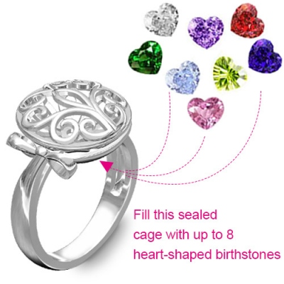 Platinum Plated Glittering Round Cage Family Tree Birthstone Ring