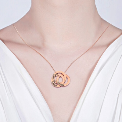 Rose Gold Typical Engraved Russian Ring Name Necklace