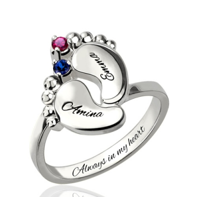 Platinum Plated Glamorous Engraved Mother's Day Birthstone Name Ring