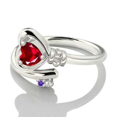 Excellent Platinum Plated Birthstones Key to Her Heart Ring