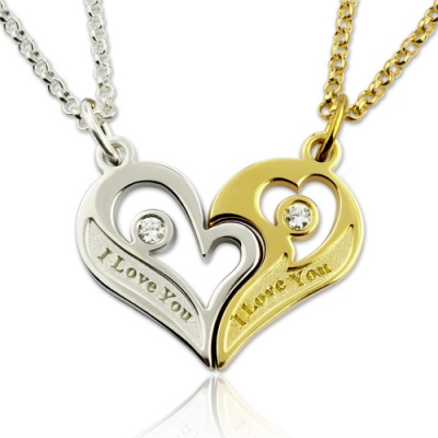 Glamorous Couple's Breakable Birthstones Heart Necklace