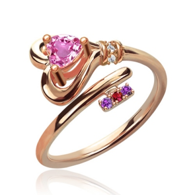Fantastic Key To Heart With Birthstones Rose Gold Ring