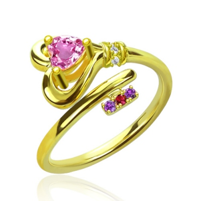 Gold Plated Incredible Key To Heart With Birthstones Ring