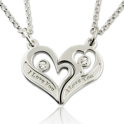 Breathtaking Silver Couple's Breakable Heart With Birthstones Necklace
