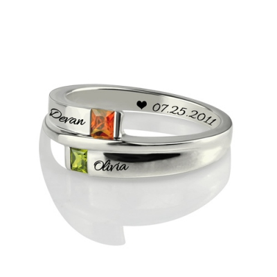 Platinum Plated Splendid Engraved Double-Square Birthstones Ring