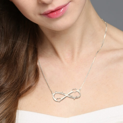 Sterling Silver Sparkling Double Heart Infinity Names Necklace